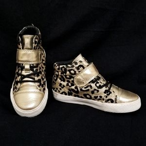PLACE Girl 12 high top Gold leopard print sneakers
